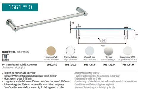porte serviette chrom 233 brillant pour paroi de en verre ref str 1661 30 0 stremler