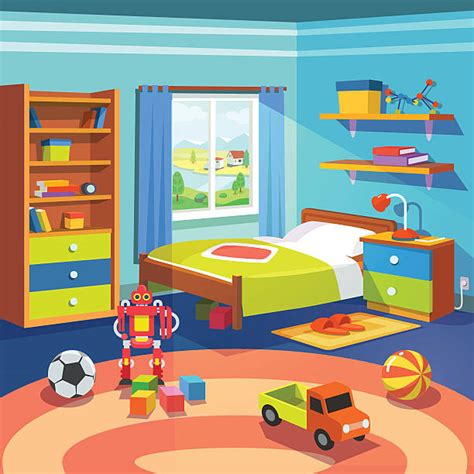 Bedroom clipart toy room  Pencil and in color bedroom