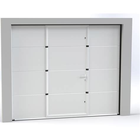 porte de garage sectionnelle motoris 233 e artens essentiel 200x300cm avec portillon leroy merlin