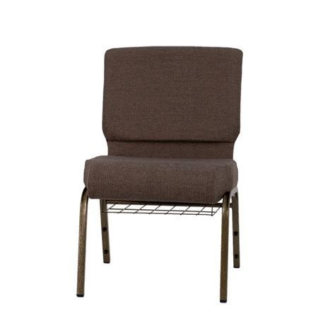 hercules series 21 w church chair in brown fabric with cup book rack gold vein frame fd