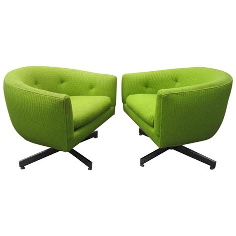 stunning pair of signed milo baughman barrel back swivel chairs mid century for sale at 1stdibs