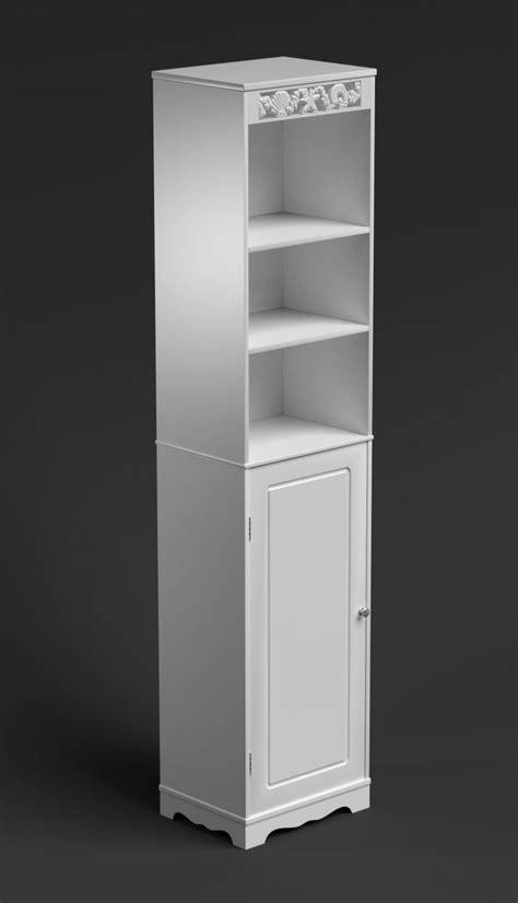 white bathroom cabinet narrow cupboard slim storage unit shelves doors