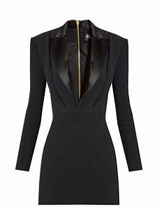Lyst - Balmain Satin-lapel Mini Tuxedo Dress in Black