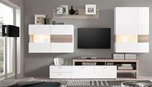 Moderne Wohnzimmer Schrankwand : wohnwand monty 351x207x47 cm wei eiche schrankwand wohnzimmer led wohnbereiche wohnzimmer wohnw nde ~ Markanthonyermac.com Haus und Dekorationen