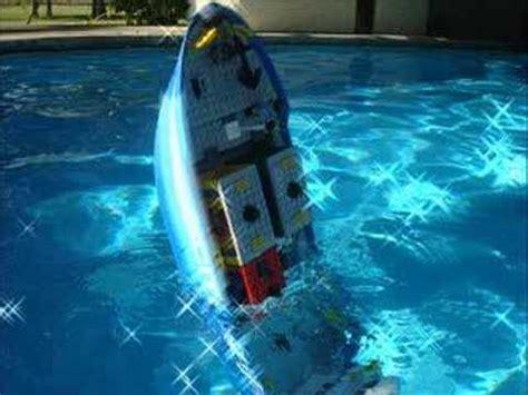 lego cargo ship on a pool