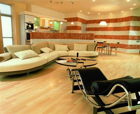 Charming Beige Home Interior With Fancy Mini Bar Area