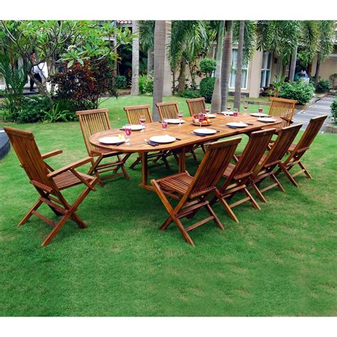 ensemble salon de jardin en teck huil 233 10 12 places table ovale 165 jardin piscine