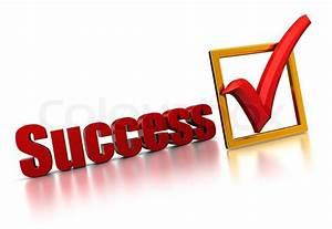 Abstract 3d illustration of success sign with check mark ...