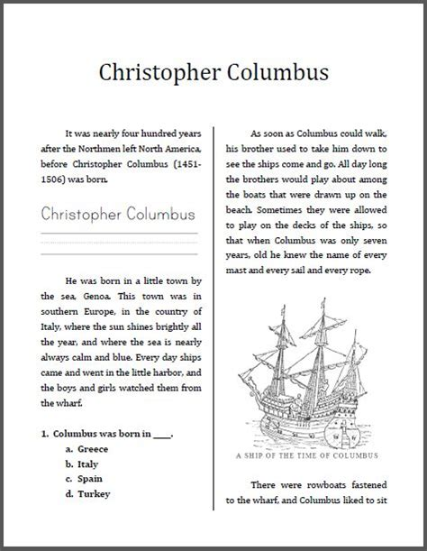 Christopher Columbus Miniunit Workbook  This Is Designed For Students In Grades 24, Depending