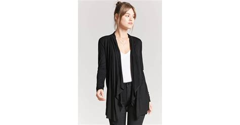 Forever 21 Drape-front Knit Cardigan In Black