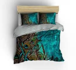 luxe bedding teal peacock duvet cover set peacock bedding