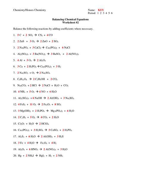 Balancing Chemical Equations Worksheet Answers 8th Grade