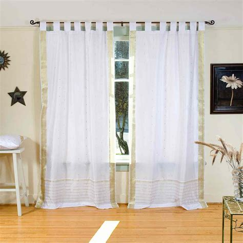 white with gold tab top sheer sari curtain drape panel