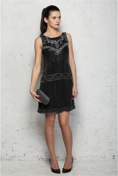 black deco flapper dress beaded shift dress