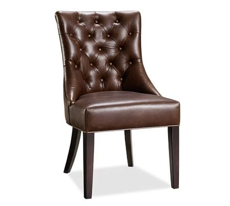 tufted leather dining side chair pottery barn
