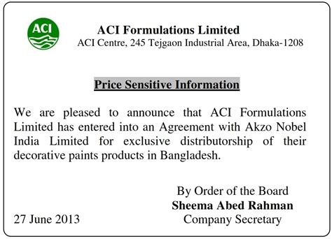 price sensitive information aci fl ltd 2013 aci limited