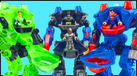 batman green lantern superman battle bane luthor brainiac in imaginext robot battle slam