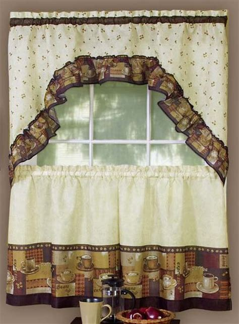 coffee curtains tier pair swag set complete kitchen sets