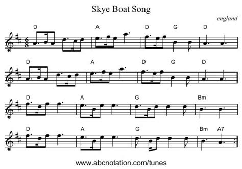 Boat Song To Skye by Skye Boat Song In D Major Music Pinterest D Boats