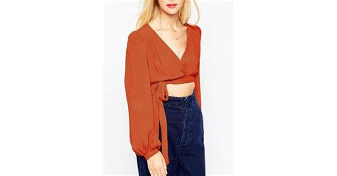 Asos Obi Wrap Cropped Ultimate 70s Blouse In Brown