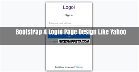 Bootstrap 4 Login Page Design Like Yahoo