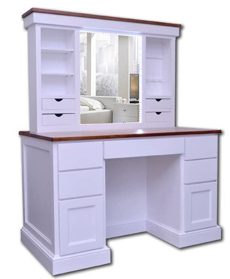 vanity desk with illuminated pop up mirror