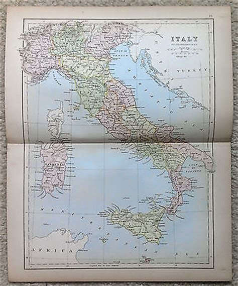 antique map of italy by j bartholomew 1877 usd 20 00 end date tuesday feb 25 2014 05 21