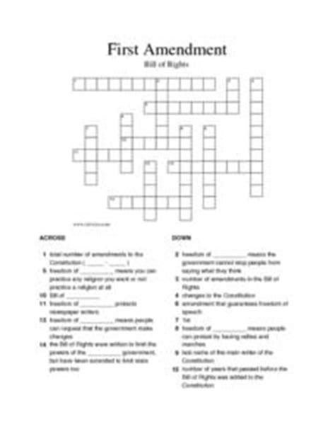 First Amendment Crossword Puzzle 5th  8th Grade Worksheet  Lesson Planet
