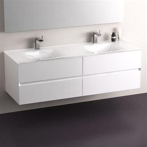 meuble salle de bain blanc 150 cm 4 tiroirs plan verre glass
