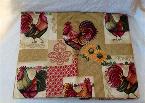"""Rooster Country Kitchen Tablecloth Vinyl 52""""x70"""" Oblong"""