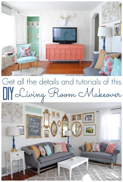 coral and mint living room reveal clutter