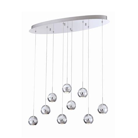 eurofase collection 9 light chrome clear led oval pendant the home depot canada