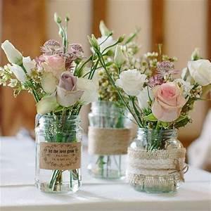 Vintage Style Deko : traditional 39 mason style 39 glass jar wedding centrepiece decoration 8cm diameter height ~ Markanthonyermac.com Haus und Dekorationen