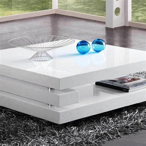 table basse carre laque blanc ezooq