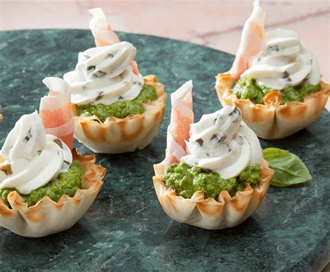 Pea & Prosciutto Phyllo Canapes  Cocktail Party Appetizers