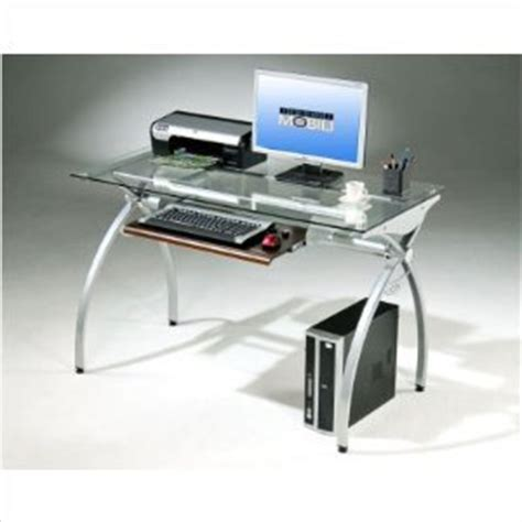 techni mobili glass and metal computer desk computer table desk office products