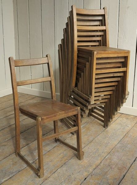 antique wooden reclaimed stacking church chairs