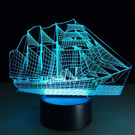 Led Boat Night Lights by Creative Sailing Boat Usb 3d Led Lights Colorful Touch
