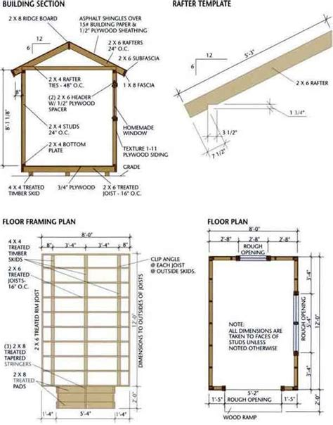 8x12 shed blueprints foundation and flooring farm and house ideas cabin