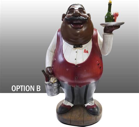 black chef kitchen figure with wine table decor