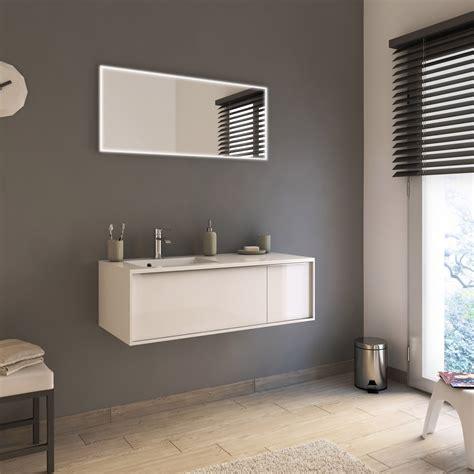 meuble de salle de bains de 100 224 119 blanc beige naturels neo frame leroy merlin