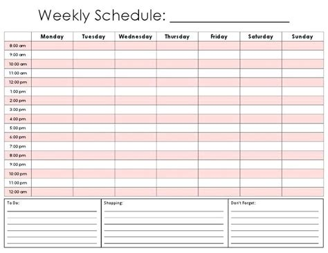 Free Printable Weekly Schedule Template Excel Flowchart Ui Design Yes No Box Flow Chart Qualitative Analysis Cations Diagram In Work Study With Excel Software Names Zone