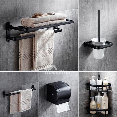 4 pc rubbed bronze bathroom accessory set