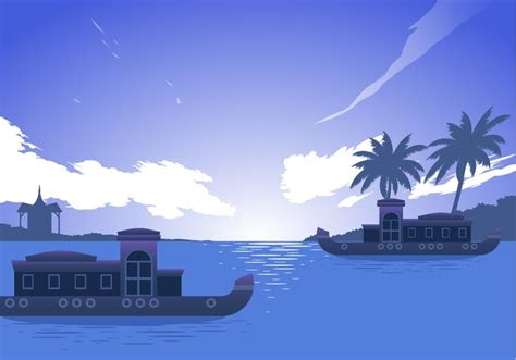 Kerala Boat House Vector by Kerala Boat Free Vector Download Free Vector Art Stock