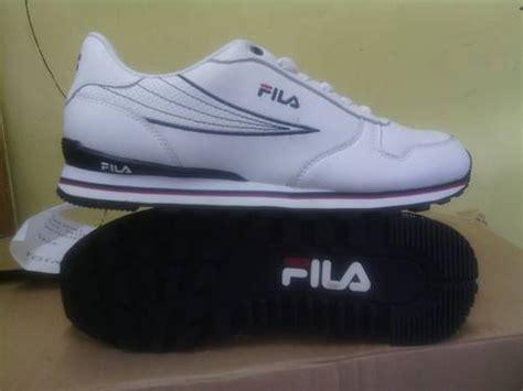 Sepatu Fila Sneakers Ray Heritage Leather Putih Strip Merah-hitam Semi Premium