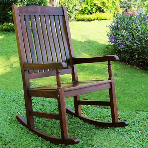 international caravan traditional stained acacia wood slat rocking chair outdoor rocking