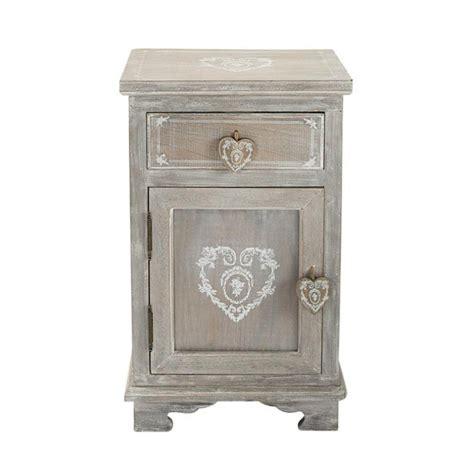 table de chevet avec tiroir en bois de paulownia gris 233 e l 38 cm camille maisons du monde
