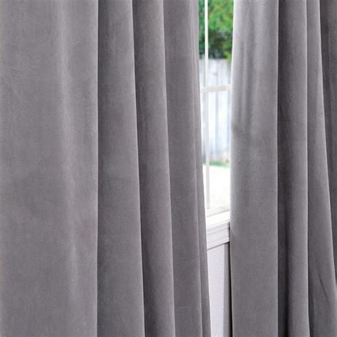 Velvet Curtain Panels by Exclusive Fabrics And Furnishings Silver Grey Velvet