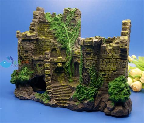 aquarium decoration the ruins ancient castle for fish tank resin ornaments ak370 small glass