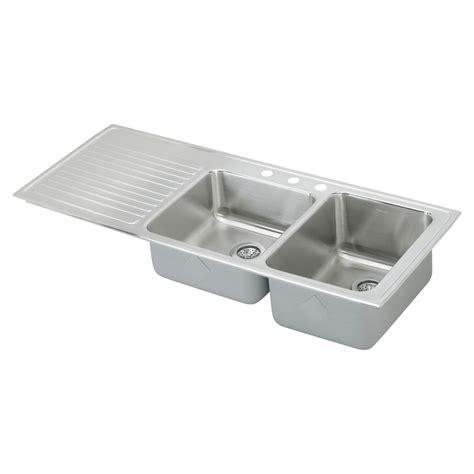 shop elkay gourmet 22 in x 54 in lustertone basin stainless steel drop in 3